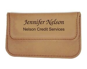 Business-Card-Holder-Case-Leatherette-Soft-Sided-Rawhide-Personalized-Free