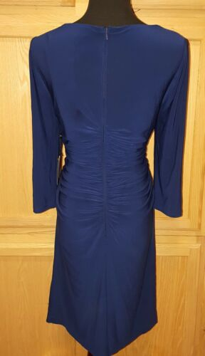 Adrianna Papell Ink Blue Beaded Drape Neck Ruched Stretch Jersey Dress 10R $140
