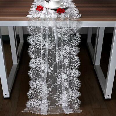 Vintage White Lace Table Runner Chair Sash Tablecloth Boho Wedding Reception Dec Ebay