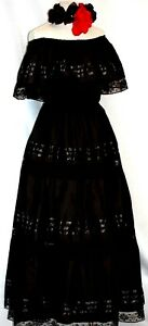 Details About Mexican Black Maxi Dress Off Shoulder Ruffle Catrina Adelita Lace Peasant Boho
