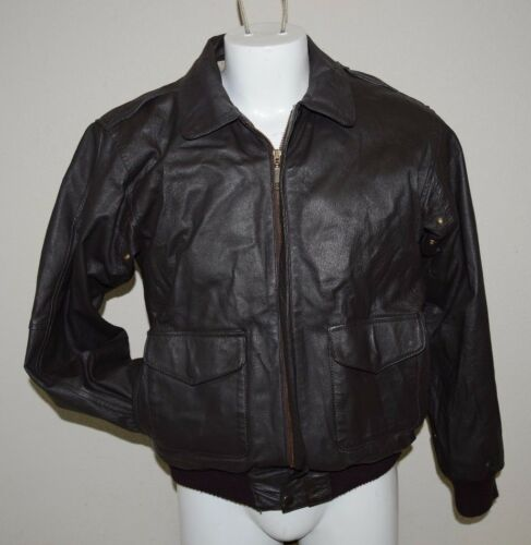Nice Vintage Dark Brown Hipster Cafe Racer Leather Bomber Jacket Men's S Rare by Burk's Bay