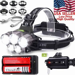 200000LM-5X-T6-LED-Headlamp-Rechargeable-Head-Light-Flashlight-Torch-Lamp-USA