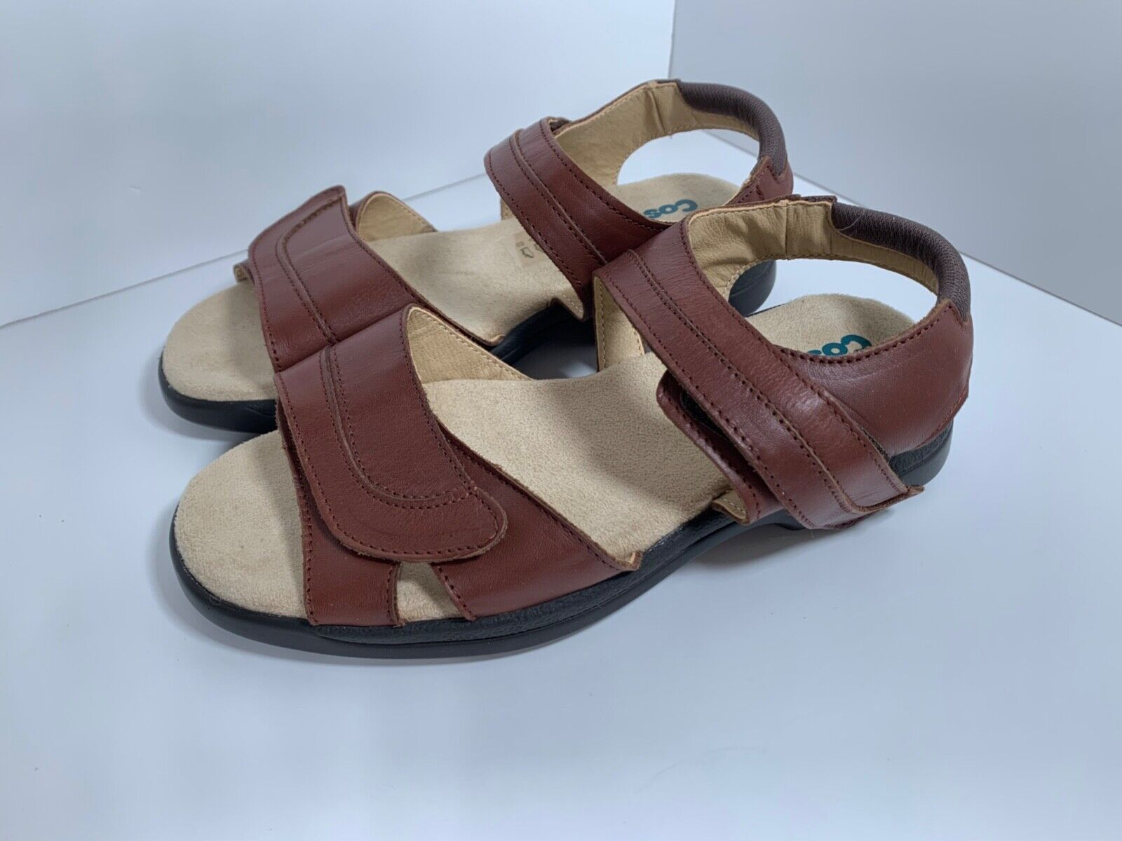 Cosyfeet Cher Leather Adjustable Strap Sandal Shoe Brown/Nut Size 4