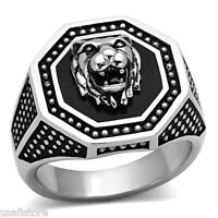 Epoxy Lion Head No Stone Dotted Band Silver Stainless Steel Mens Ring