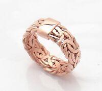All Shiny Byzantine Band Ring Genuine 14k Rose Pink Gold 7.30mm Stamped 14k