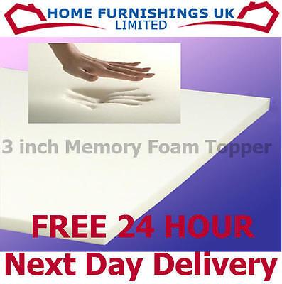 3ft 6 Single 3 Quot Inch Thick Memory Foam Mattress Topper Ebay
