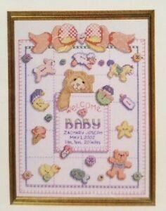Baby-Birth-Record-Counted-Cross-Stitch-Pattern-Janlynn-Just-A-Chart-10x13-inch