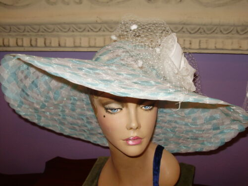 """Derby Hat LIGHT TURQUOISE WHITE Church Wide Brim Hats 22 1//2/"""" Circumference"""