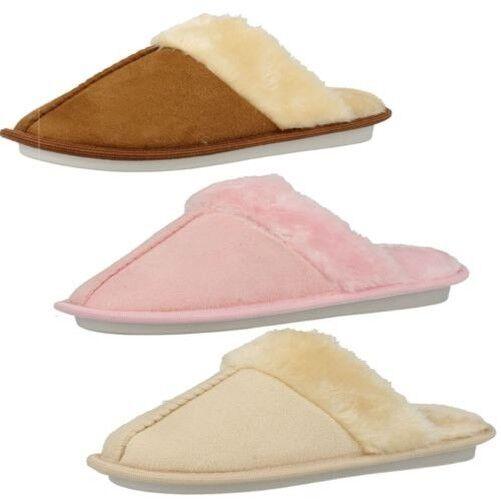 Womens Memory Fur Foam Fur Memory Trim Mule Slippers 2d5dc1