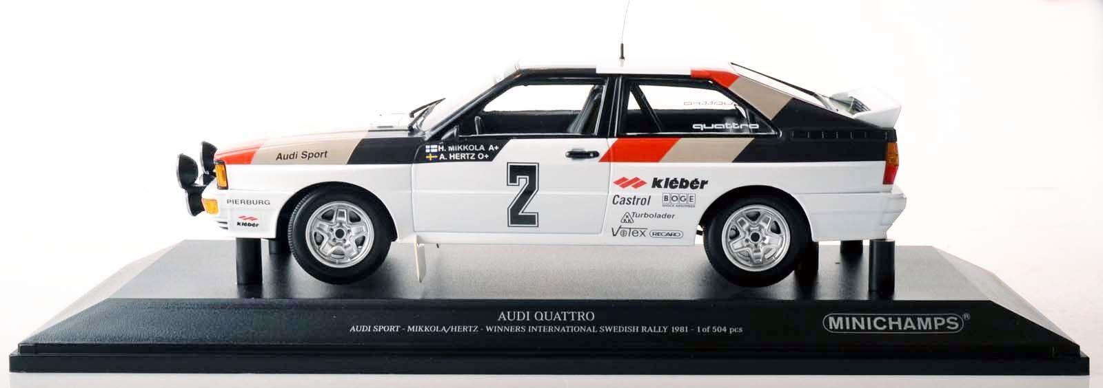 Minichamps 155811102 Audi Quattro Mikkola Hertz Swedish rally 1981 1 18 nuevo en el embalaje original