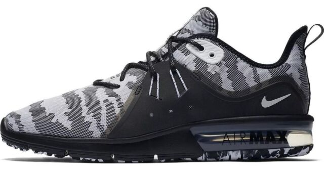477cec978fa Nike Air Max Sequent 3 Premium Black White Camo Running Shoe Men s Size 9