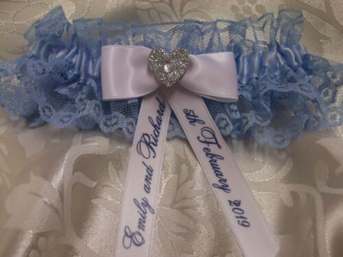 PERSONALISED BLUE AND WHITE WEDDING GARTER WITH HEART ~ PLUS SIZE LARGE