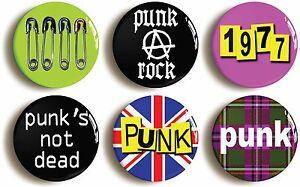 6-x-PUNK-ROCK-FANCY-DRESS-BADGES-BUTTONS-PINS-1inch-25mm-diameter-SEVENTIES