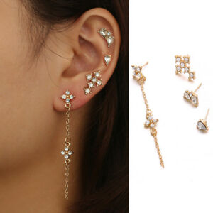 4Pcs-Set-Color-Long-Tassel-Chain-Earrings-Set-Crystal-Cross-Flower-Ear-Stud