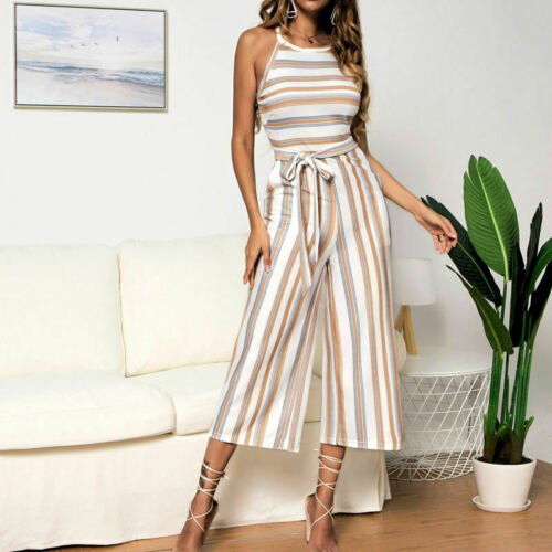 Women Classic Stripes Print Sleeveless Casual Jumpsuits