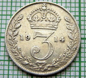 GREAT-BRITAIN-GEORGE-V-1914-THREEPENCE-3-PENCE-SILVER