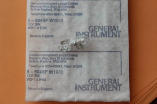 10 x GENERAL INSTRUMENT 504SF 9.5 mm Wedge Ampoules 12 V 250 mA 3.0 W T3.25 Verre Clair