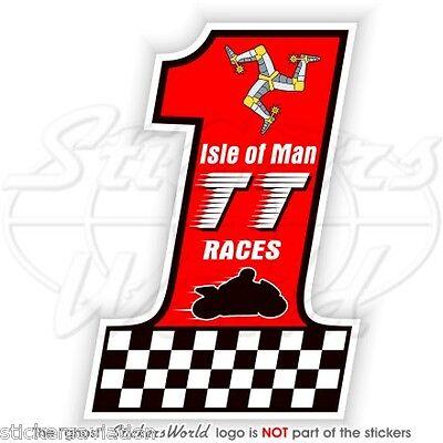 75mm Vinyle Autocollants x2 Stickers ISLE of MAN /Île de Man TT Courses MANX Moto GP Racing
