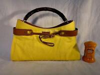 Auth GUCCI Bamboo Handle Hand Bag Purse Yellow Leather Mustard Made Italy