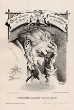 "Striking 1800s JULIUS HUBNER Antique Woodcut ""Old Wilhelm Schadow"" SIGNED COA"