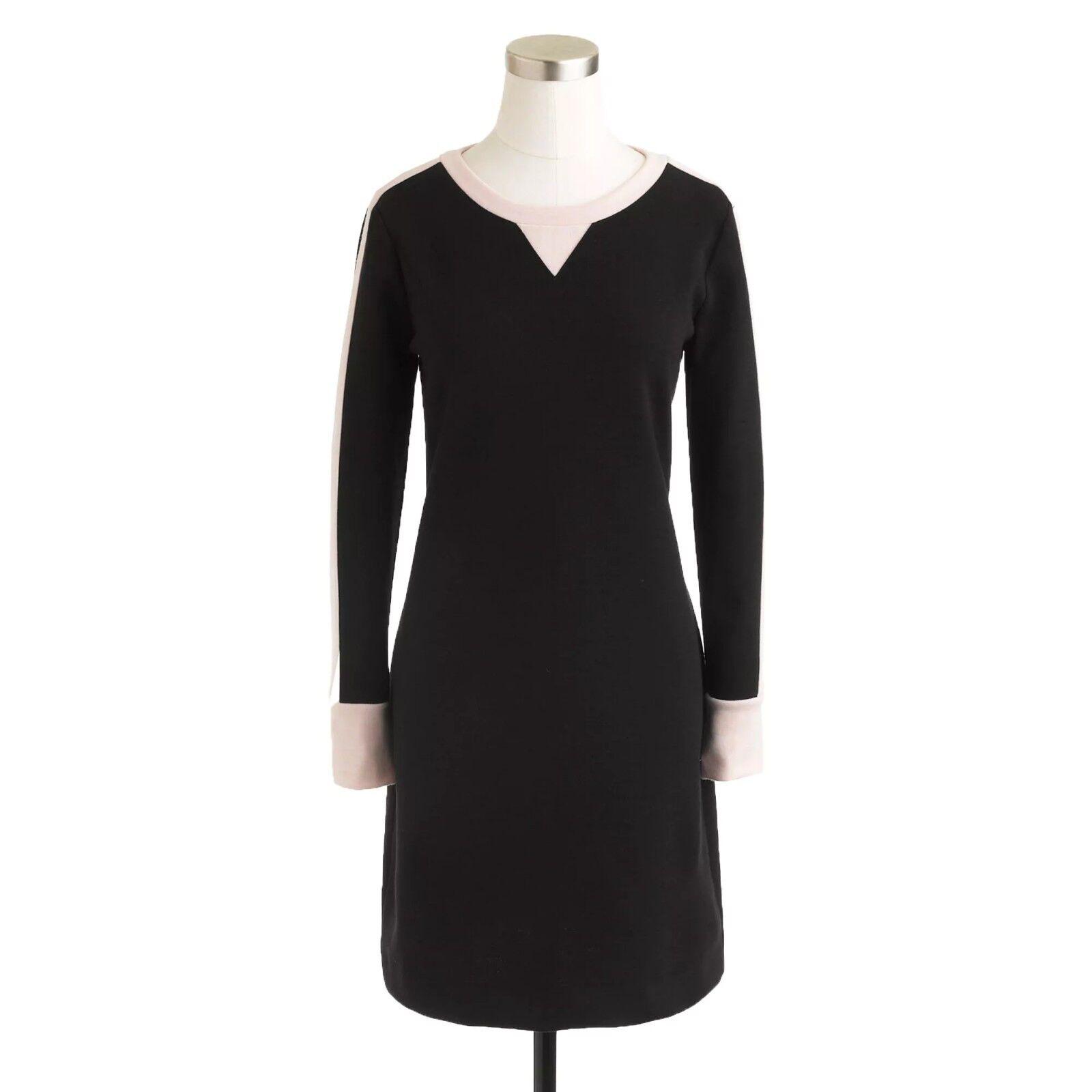 New J CREW schwarz Rosa KNIT SWEATSHIRT DRESS Sz 2 Item 07199 Long Sleeve
