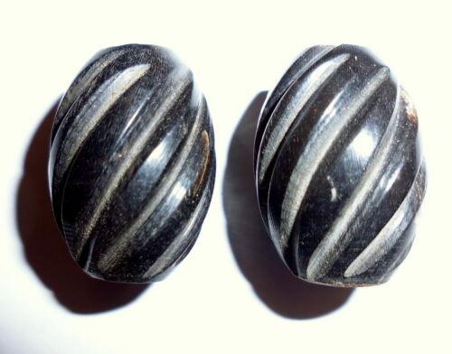 2 Stück Hornperlen Schwarz Olive gerieft zum Basteln Perle 23x15mm