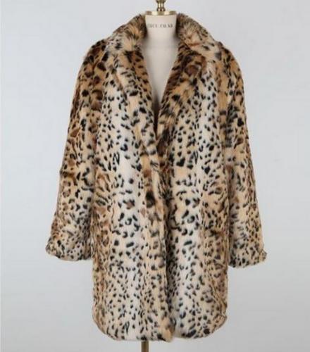 Jakke 6xl Women Størrelse Us Mid Chic Lapel S Long Collar Frakke Outwear Parka Leopard 4TqqxwOg