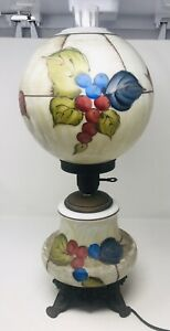 Vintage-Hurricane-Parlor-3-way-Table-Lamp-Hand-Painted-Moriage-23-5-Tall