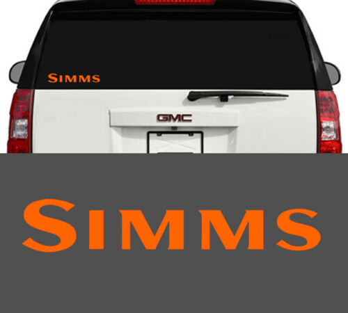 "Simms Fishing Window Decal Cooler Waders Jacket Gloves Pants Bibs Orange 5.5/"""