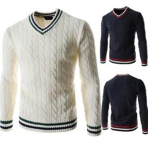 2019-Mens-Spring-Autumn-V-NECK-Jumper-Slim-fit-Sweater-Knitted-Knitwear