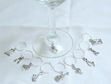 SET OF 10 MUSICAL INSTRUMENTS Piano Guitar Horn Notes Clefs WINE GLASS CHARMS