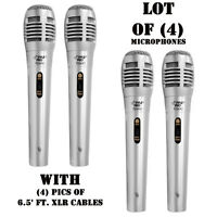 Lot Of (4) Pyle Pdmik1 Professional Moving Coil Dynamic Microphones, 4) 6.5' Xlr on sale