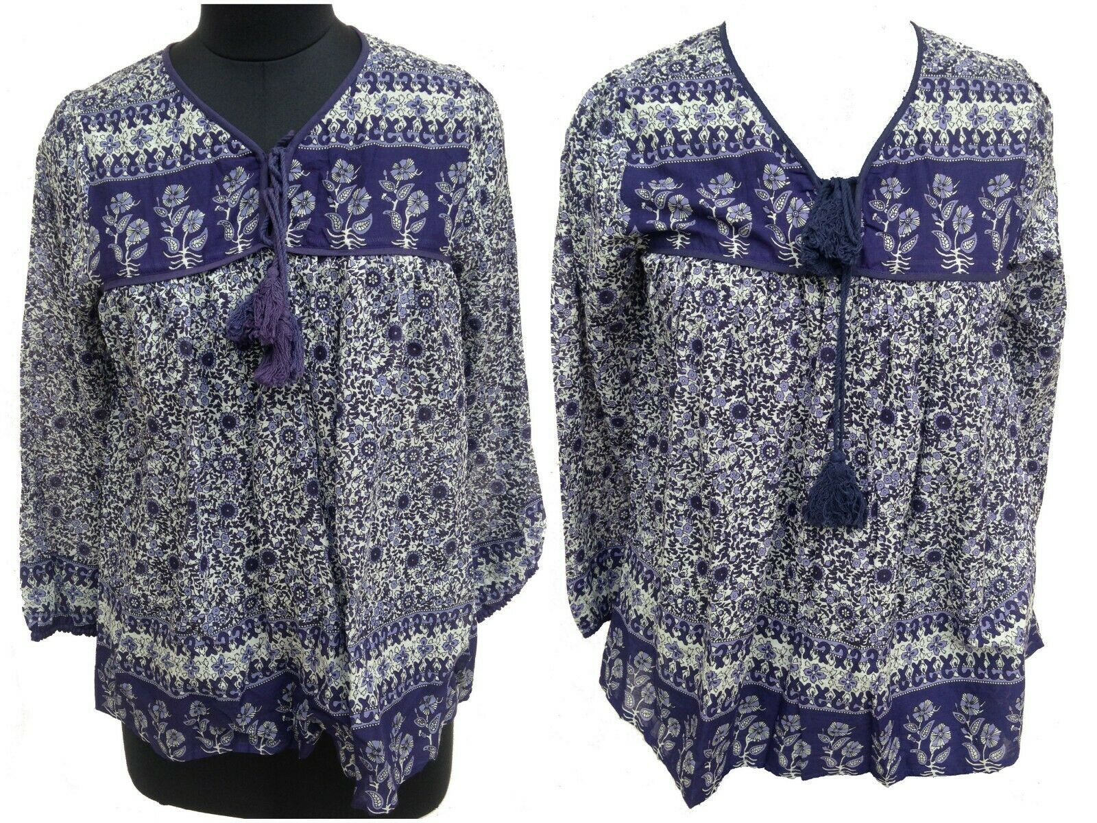 Cotton new bluee floral Bohemian gypsy blouse top women's   Plus size available