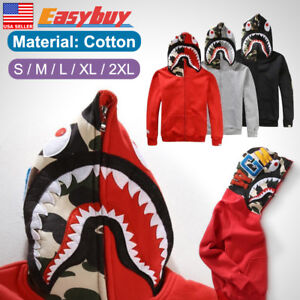 SHARK-Head-Camo-Bape-A-Bathing-Ape-Jacket-FULL-ZIP-HOODIE-Long-Sleeve-Coat