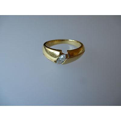 Pierre Lang PL Modeschmuck, glanzvoller goldfarbener Ring mit Steinchen Gr.6.