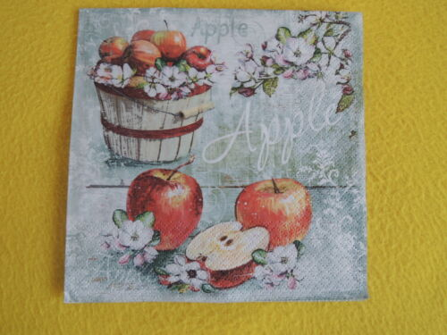 5 Servietten Äpfel Apfel Blüten Apple 1//4 Serviettentechnik Schrift Muster Korb