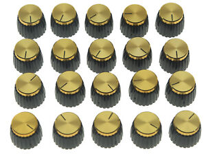 20x-Guitar-AMP-Amplifier-Knobs-Black-w-Gold-Cap-Push-on-Knobs-fits-Marshall