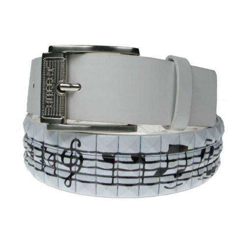 Mens Womens Music Print Studded Fashion Belt Press Stud Removable Buckle