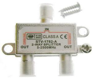 SAT-PREMiUM-TV-UKW-Stamm-Verteiler-Splitter-2-fach-3-F-Buchse-5-2400-MHz-digital