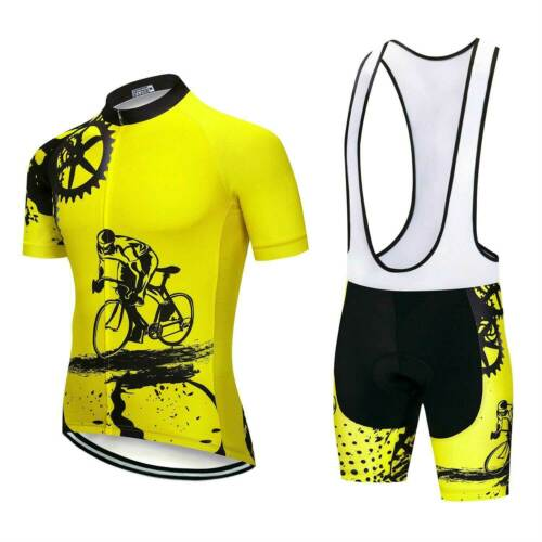 Men/'s Cycle Bib Set à manches courtes Maillot et Cuissard rembourré Kit S-5XL