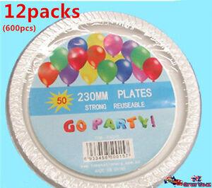 Image is loading 12x50pcs-230mm-Plastic-Pizza-Plates -Disposable-Reusable-Wholesale-  sc 1 st  eBay & 12x50pcs 230mm Plastic Pizza Plates Disposable Reusable Wholesale ...