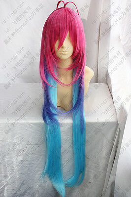 New Long Blue Purple Pink Gradient Cosplay Wigs High Temperature Wire Wigs Hair