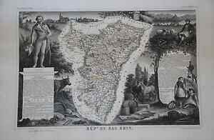 Grande-carte-Map-France-1852-ATLAS-LEVASSEUR-Ed-Combette-Departement-67-BAS-RHIN