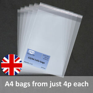 A4-Cello-Cellophane-Bags-with-Self-Seal-strip-C4-Crystal-Clear-Best-Quality