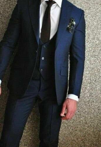 Navy Men Tuxedos Wedding Groom Suits 3 Piece Business Party Prom Formal Blazers