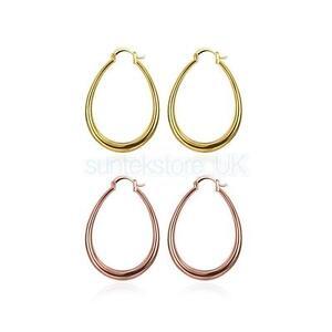 Rose-Gold-Plated-Large-Teardrop-Circle-Wide-Smooth-Hoop-Hyperbolic-Earrings