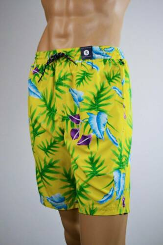 Tommy Hilfiger Yellow Tropical Swim Suit Short Trunks NWT