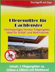 Fliegengitter-Insektenschutz-Mueckengitter-fuer-Dachfenster-Schwarz-150-x-180-cm