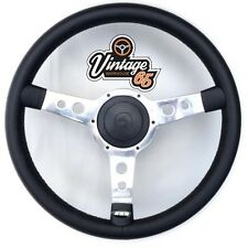 "Retro Classic 13"" Polished Alloy Black Vinyl Semi Dished Steering Wheel Boss Kit"