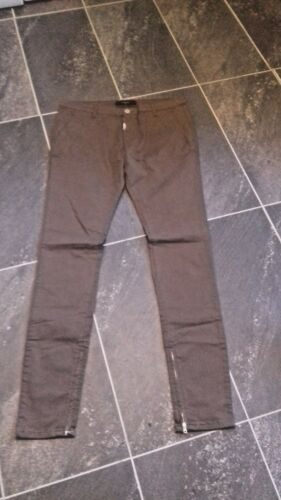DESIGNER CLOTHING BY REPRESENT TAUPE PANTS WITH ZIP DETAIL SIZES WAIST 30,36,38